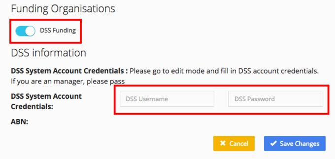 Enter DSS System Account Credentials